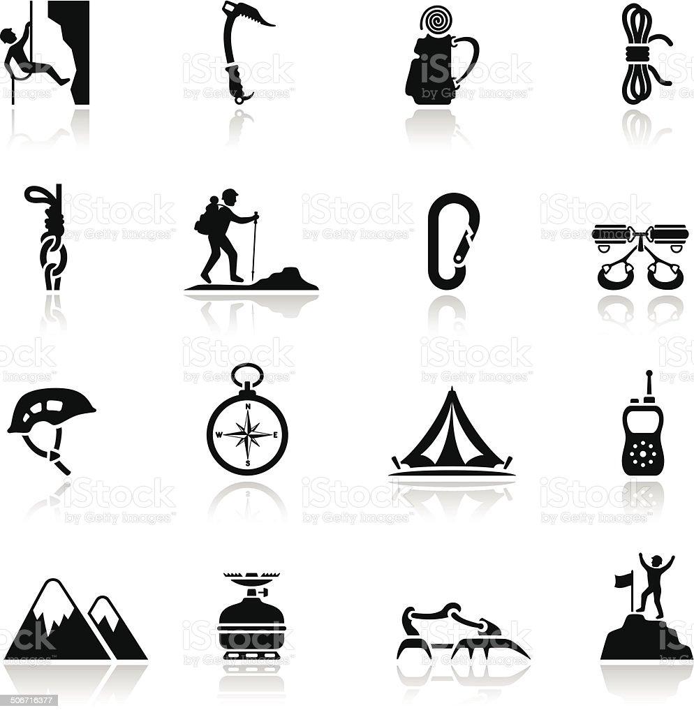 Climbing Icon Set vector art illustration