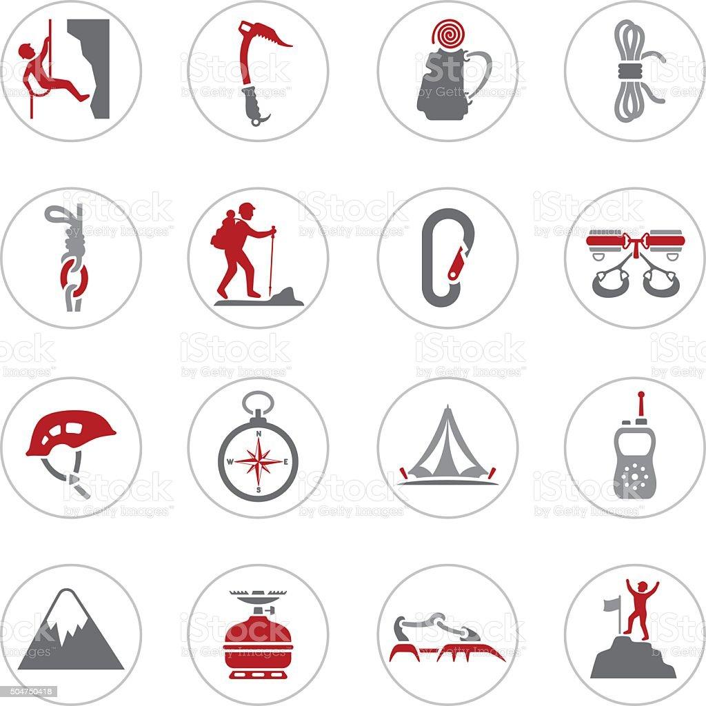 Climbing Icons vector art illustration
