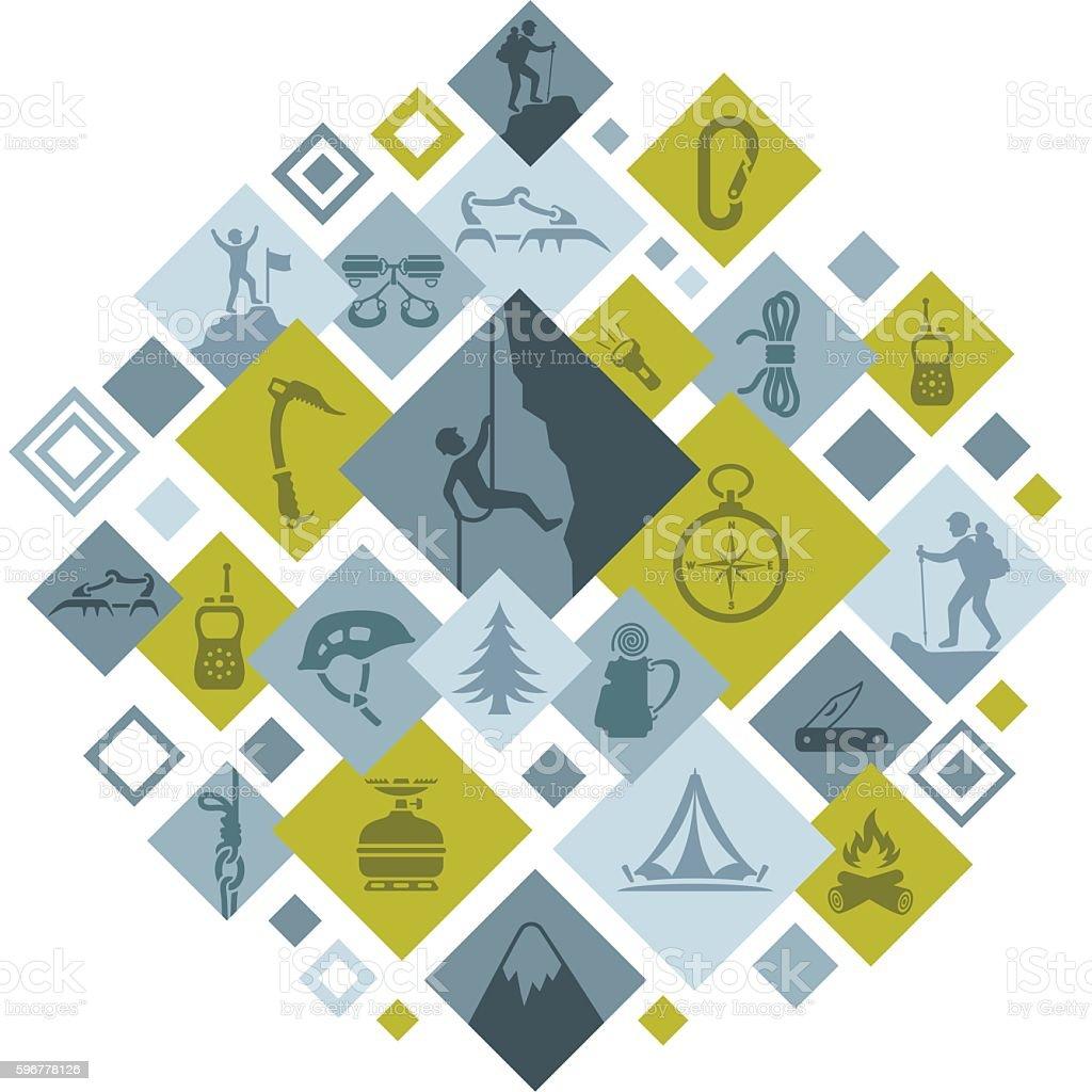Climbing Montage vector art illustration