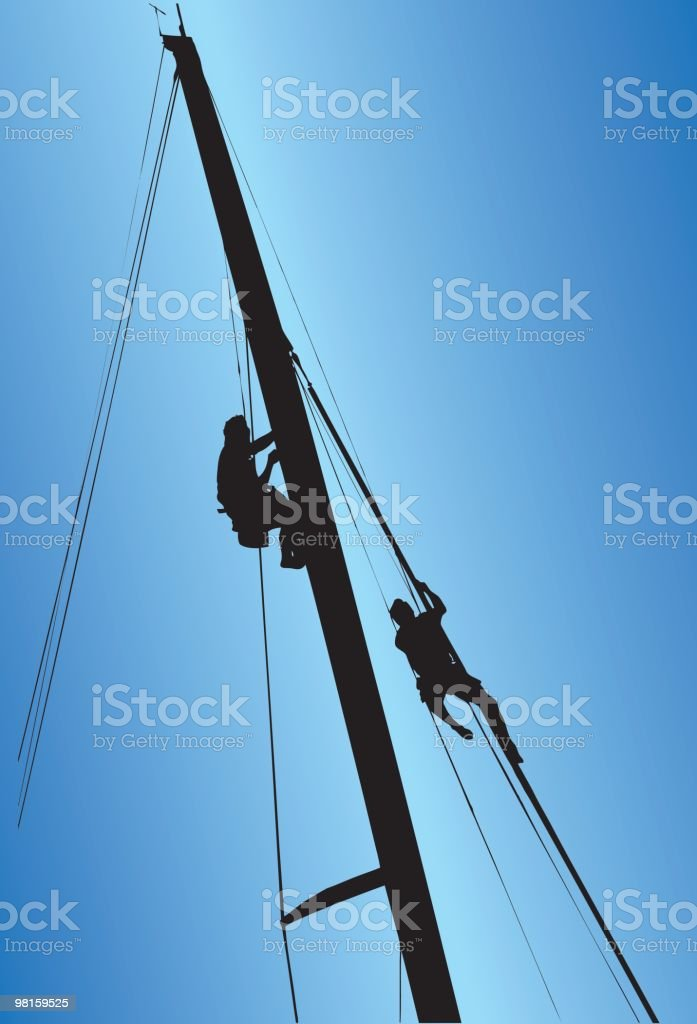 Climbing or Hoisted up a Sailboats Mask vector art illustration