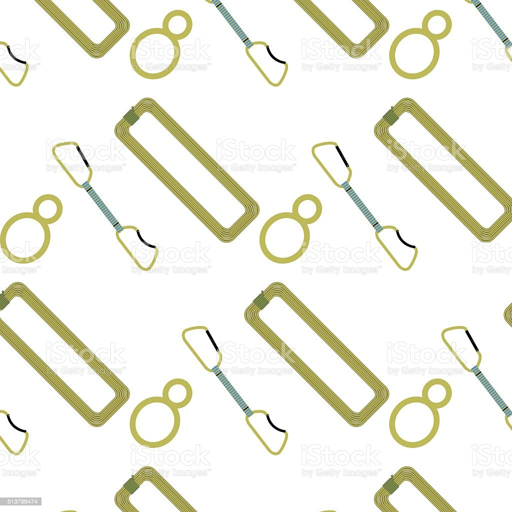 Climbing pattern belay device rope and quickdraw vector art illustration