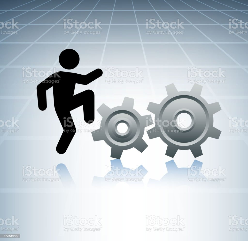 Climbing Stick Figure with Gears on Grid Background royalty-free stock vector art