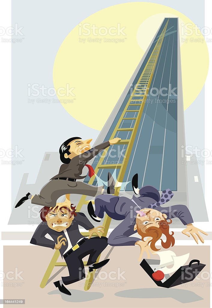 Climbing the Corporate Ladder vector art illustration