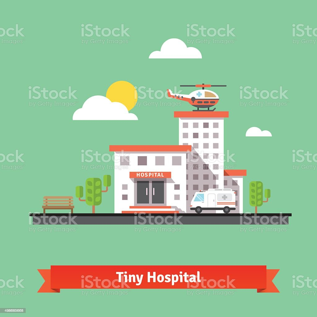 Clinic building with ambulance helicopter and car vector art illustration
