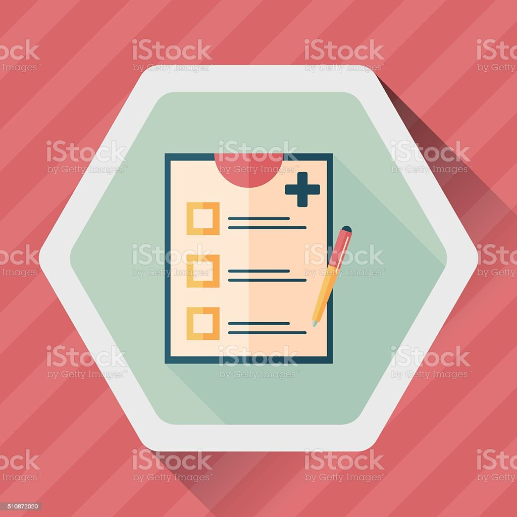 clinical record flat icon with long shadow,eps10 vector art illustration