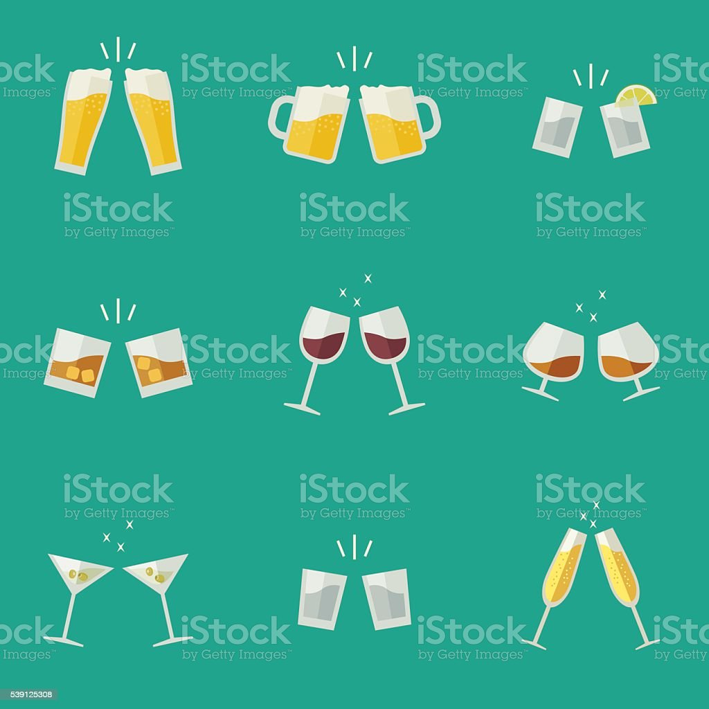 Clink glasses icons. vector art illustration