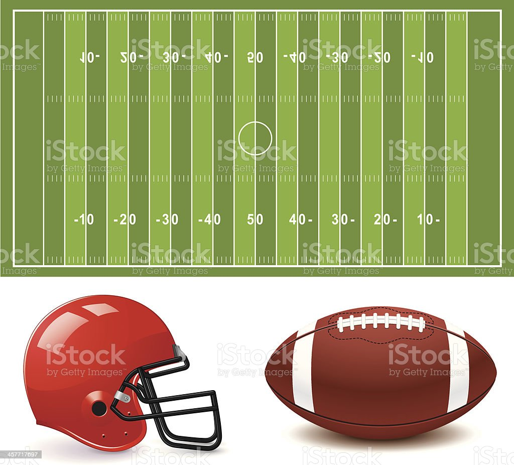 Clip art graphic of American football field, helmet and ball royalty-free stock vector art
