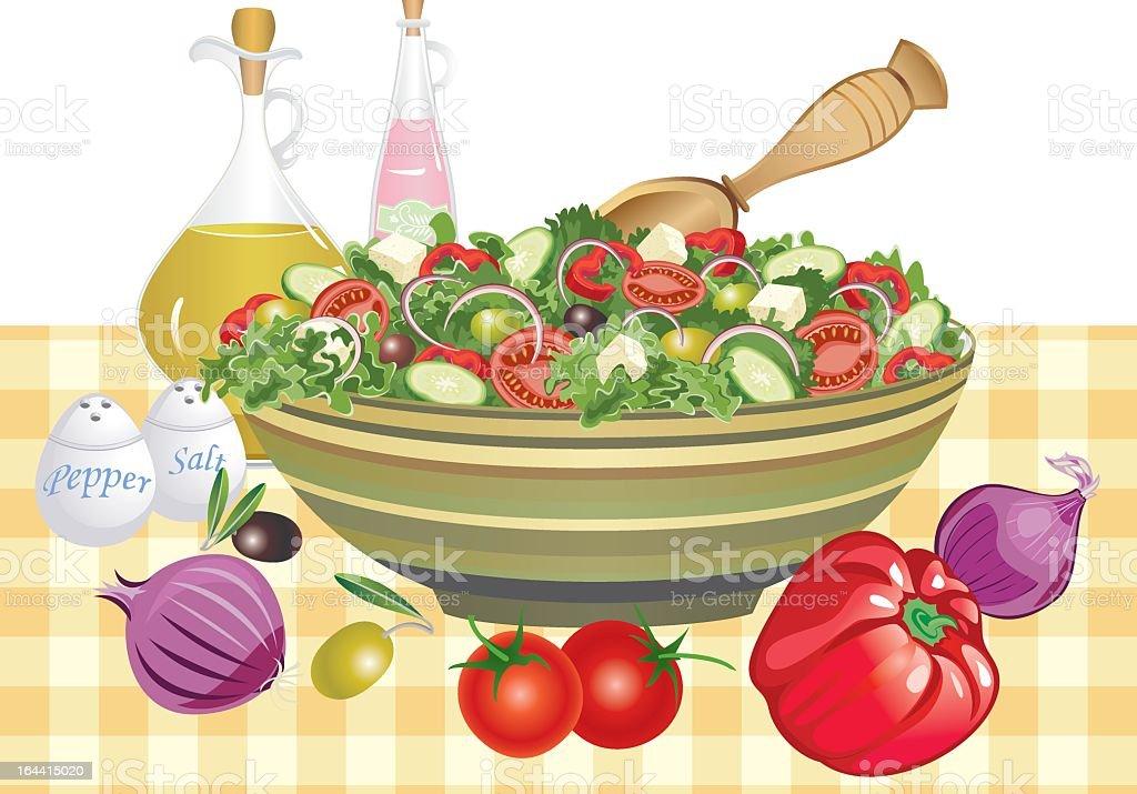 Clip art image of a Greek salad setting  royalty-free stock vector art