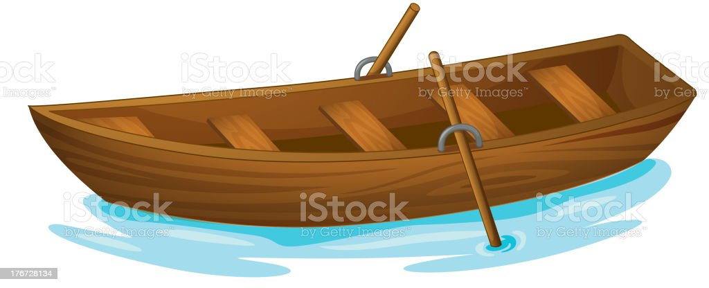 A clip art image of a wooden boat at sea vector art illustration
