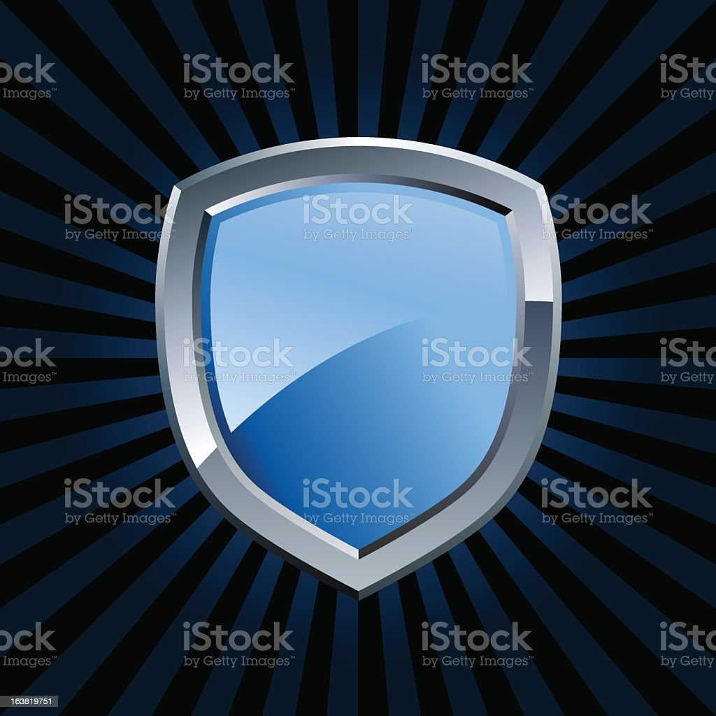 A clip art of a glossy blue shielded emblem royalty-free stock vector art