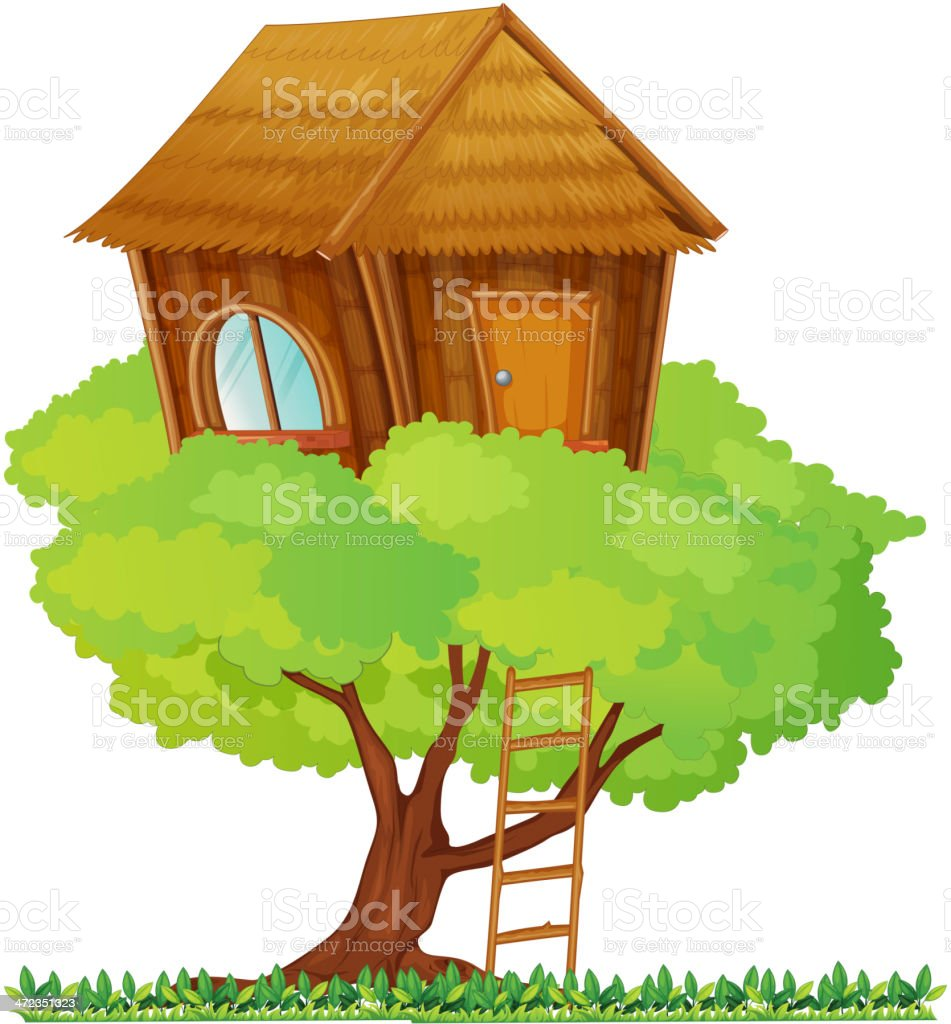 Clip art of a large treehouse coming out of the top of tree  vector art illustration