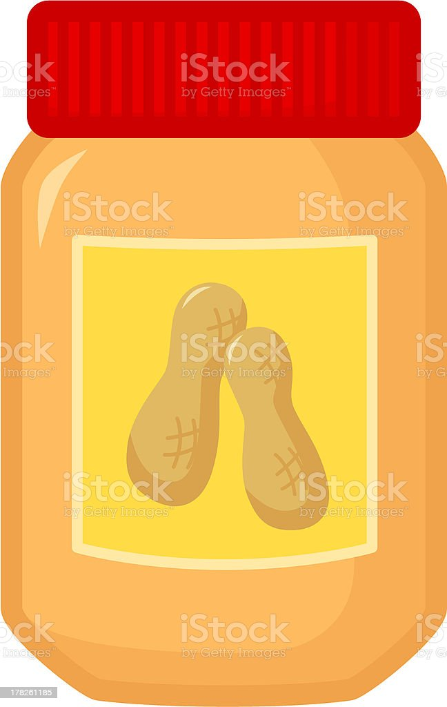 Clip art of a peanut butter jar with a red lid vector art illustration