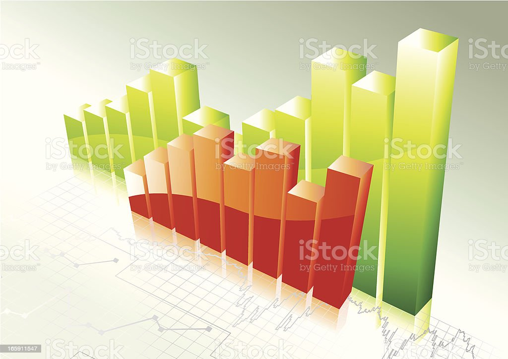 Clip art of a red bar chart in front of a green bar chart royalty-free stock vector art