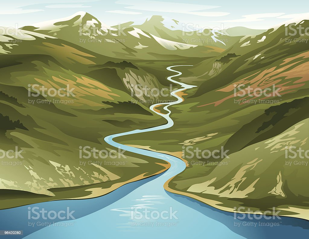 A clip art of a river circling its way around a mountain vector art illustration