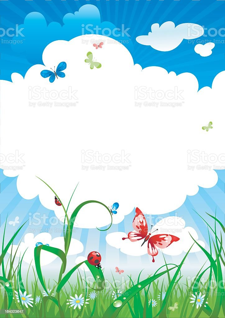A clip art of a summers sky and grass royalty-free stock vector art