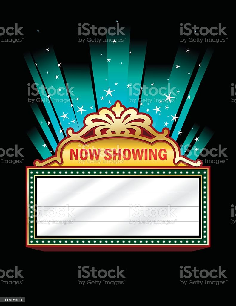 A clip art of a theater marquee vector art illustration