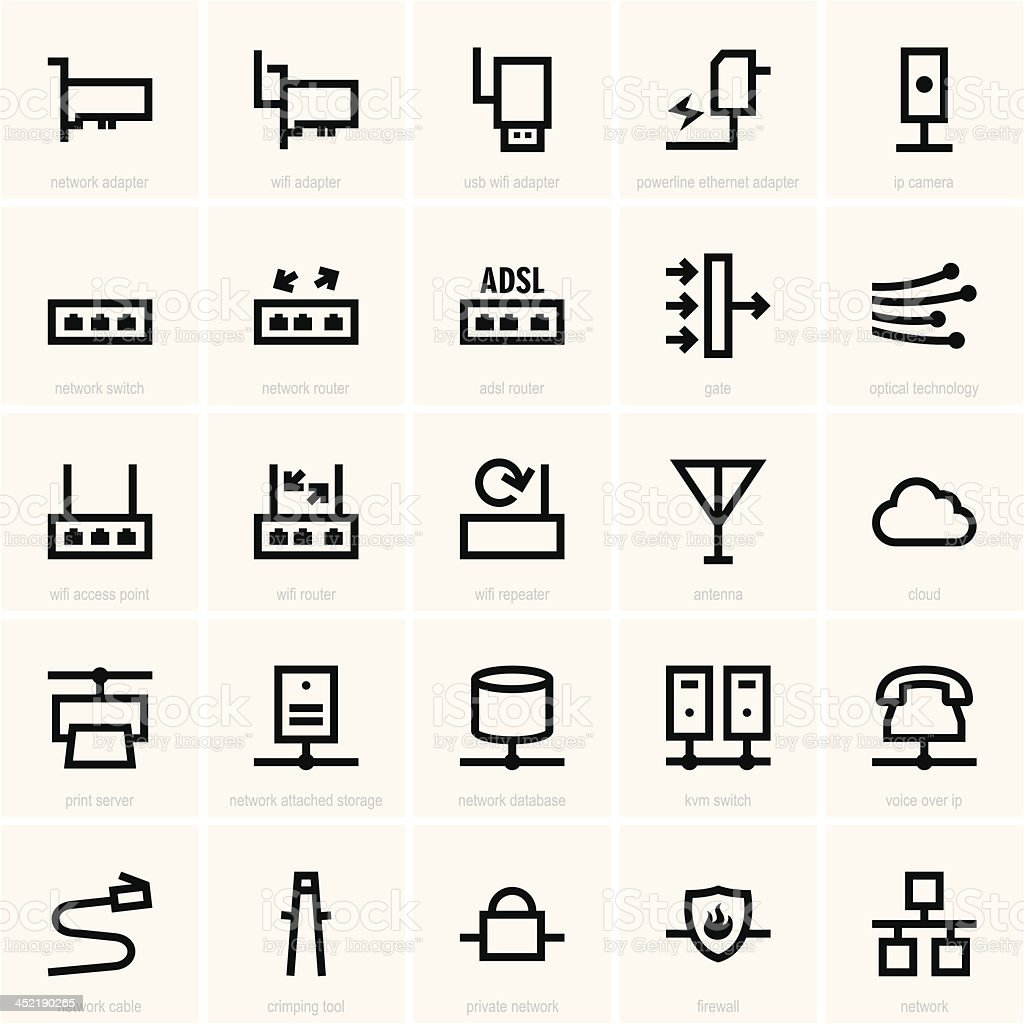 Clip art of network icons to be used for reference vector art illustration