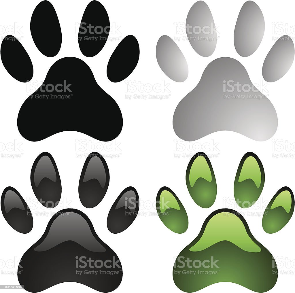 Clip art of paw prints in 4 different colors vector art illustration