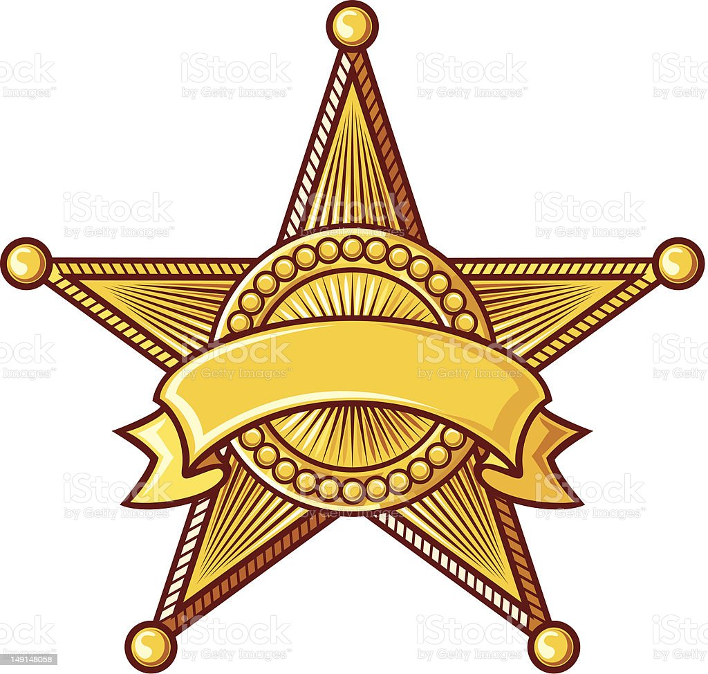 Clip art of sheriff star badge with ribbon around it  vector art illustration