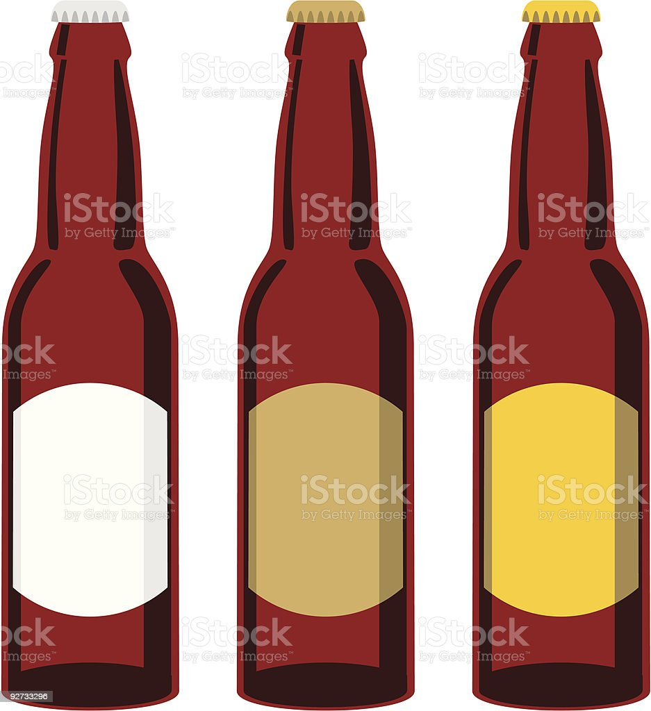 Clip art of three brown beer bottles with different labels vector art illustration