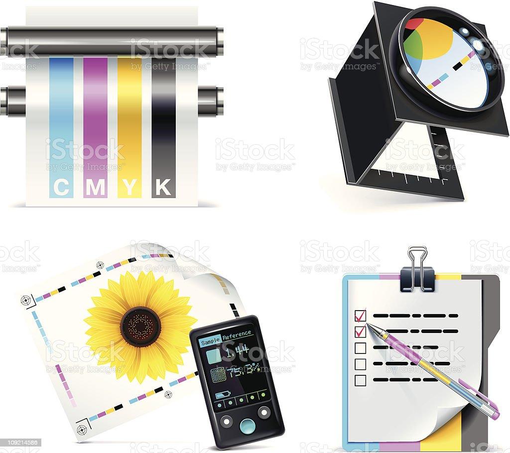 Clipart icon set for print shops vector art illustration