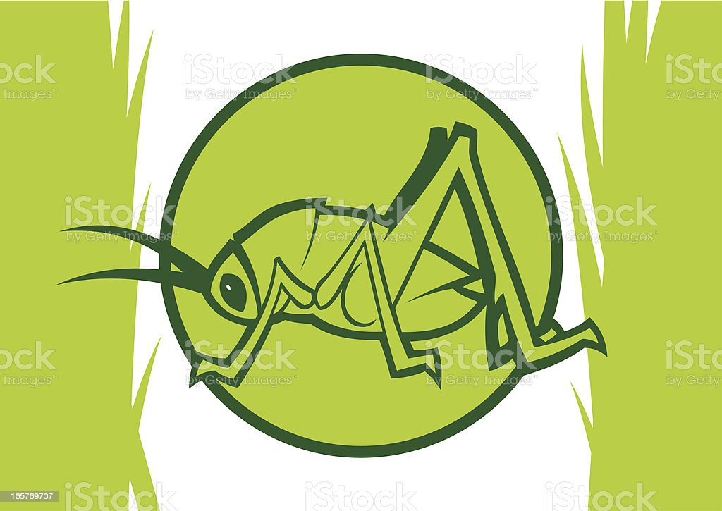Clipart light green katydid inside a circle with grass royalty-free stock vector art
