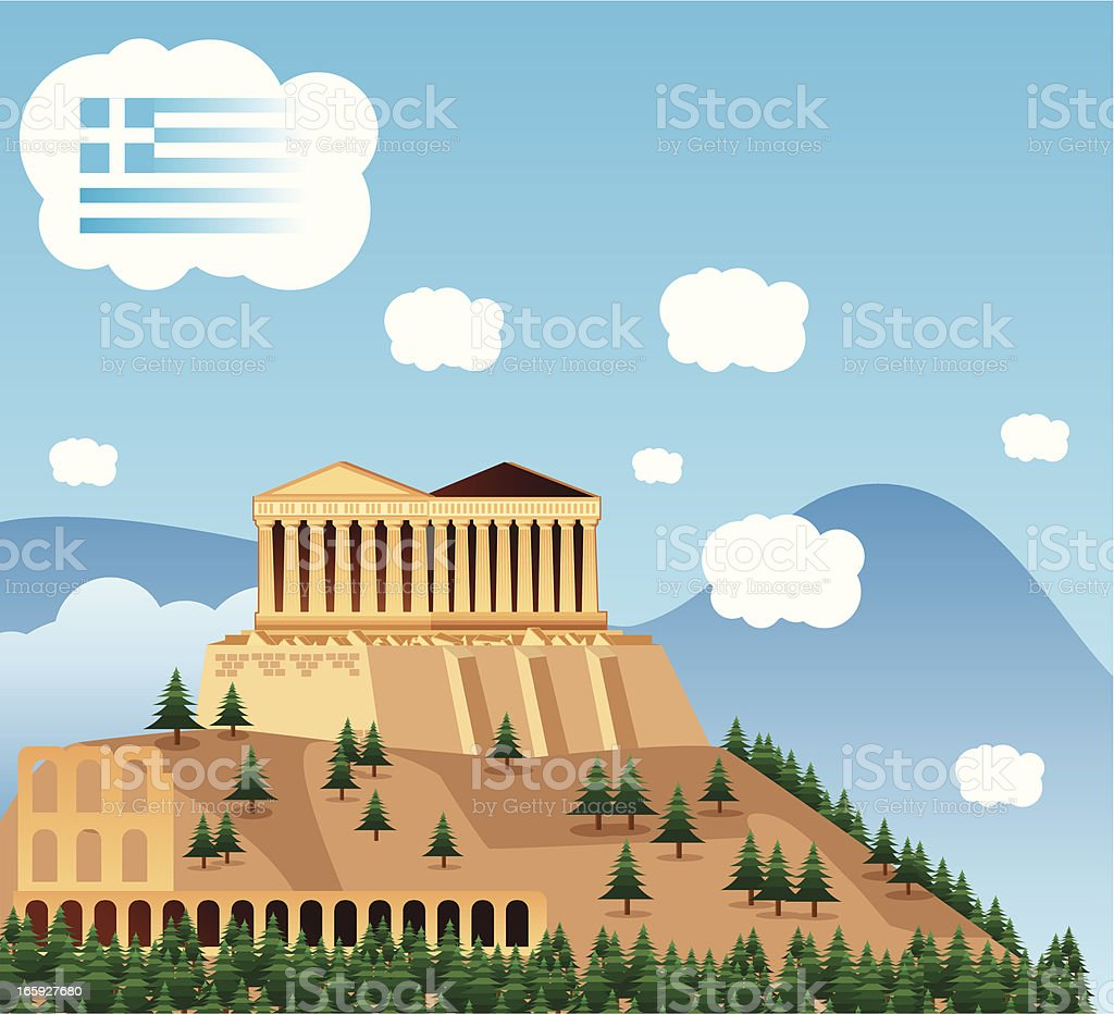 Clipart of a building in Athens vector art illustration