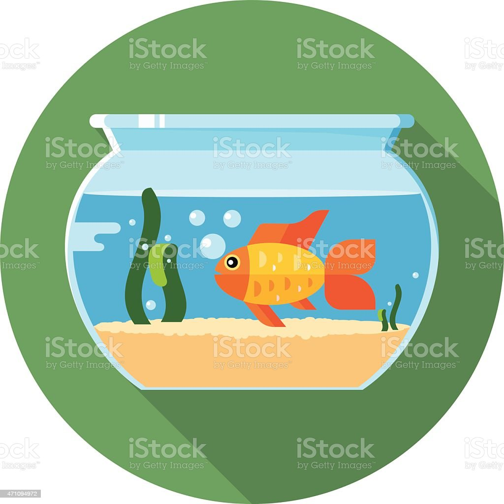 Clipart of a goldfish alone in his tank vector art illustration