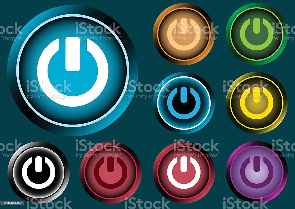 Clipart with switching off sign icons vector art illustration