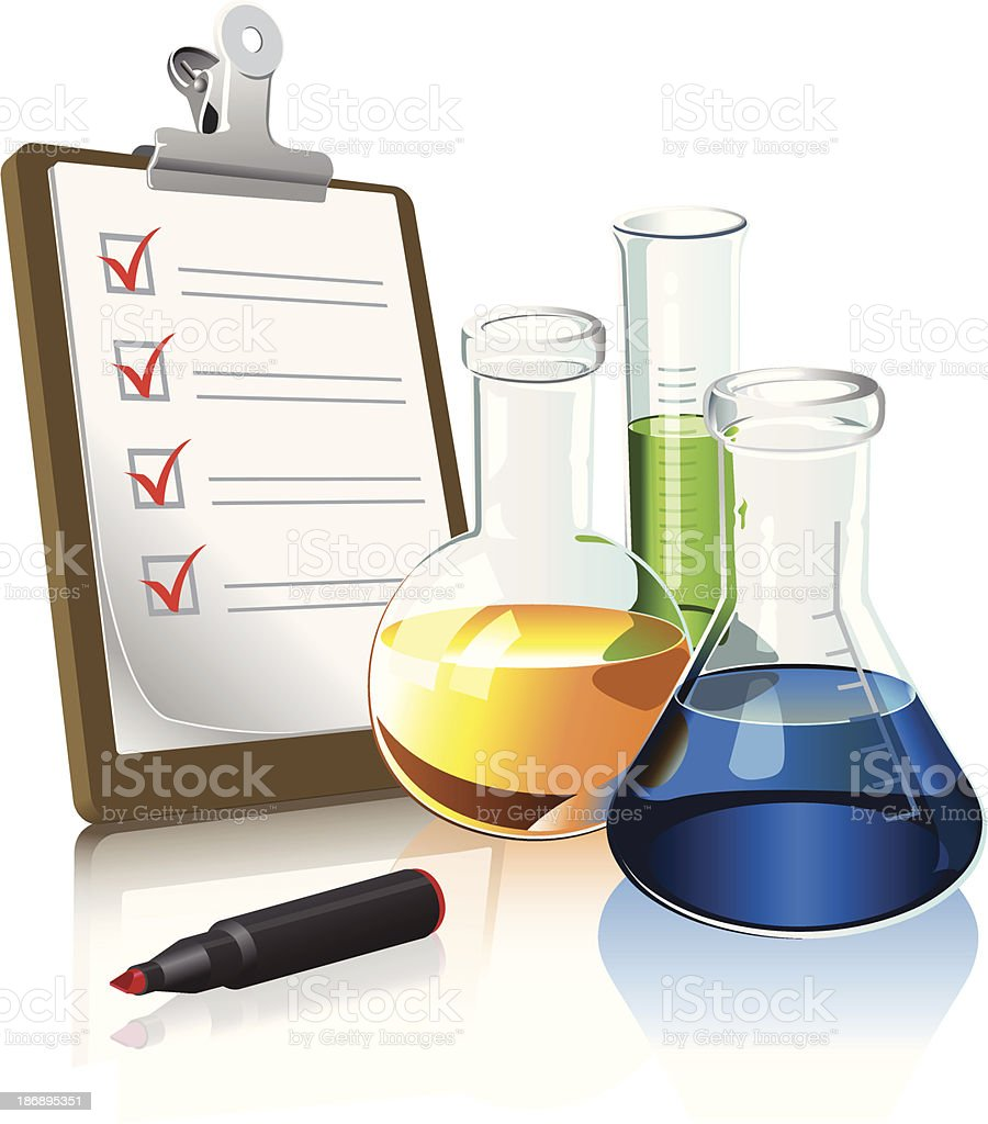 clipboard and beakers vector art illustration
