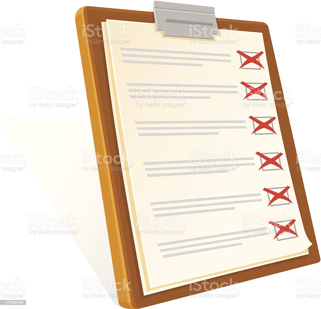 Clipboard and Check List Fail Icon vector art illustration
