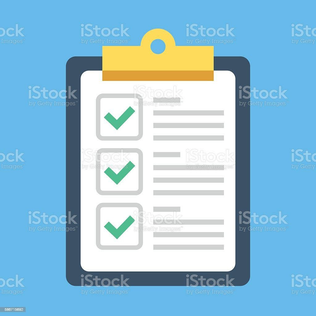 Clipboard and check marks. Flat style design vector illustration vector art illustration