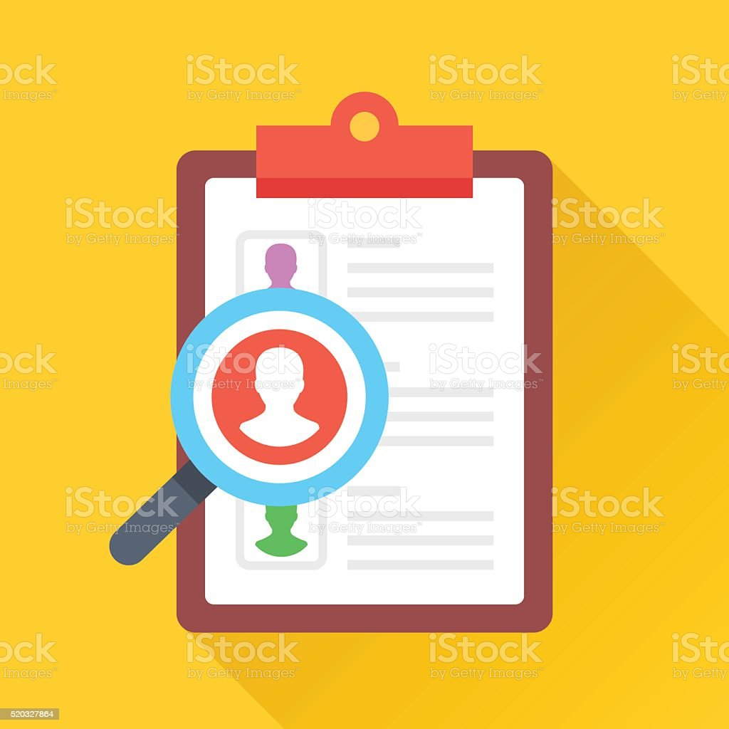 Clipboard and magnifying glass with man silhouette. Flat vector illustration vector art illustration