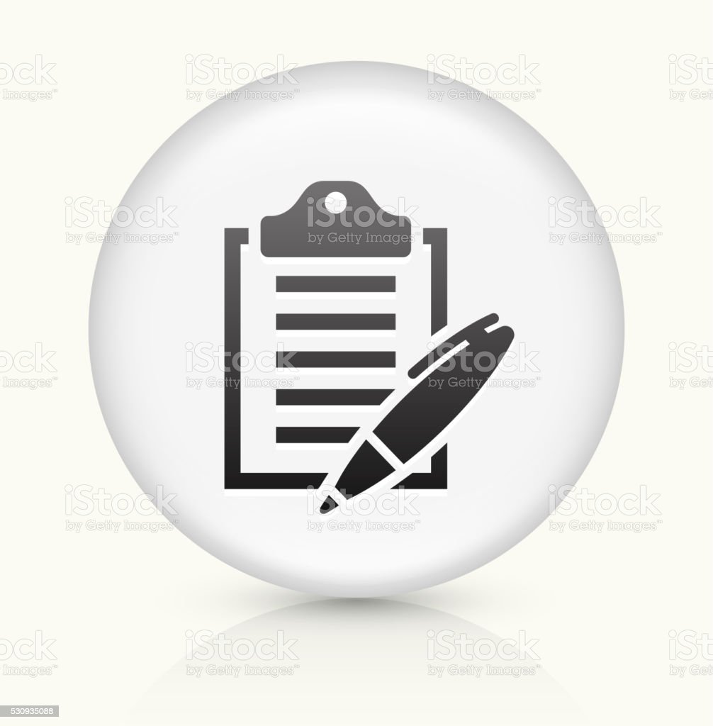 Clipboard and Pen icon on white round vector button vector art illustration