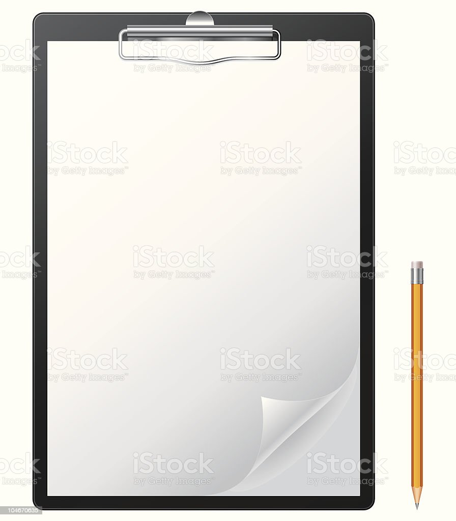 Clipboard and pencil. royalty-free stock vector art
