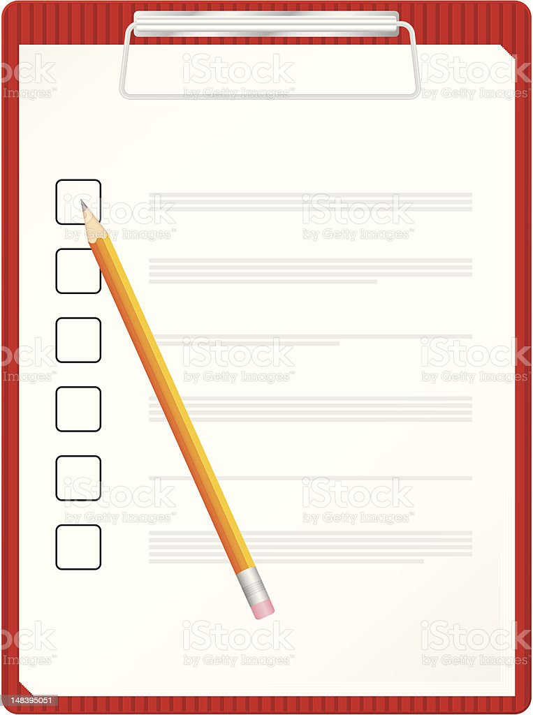 clipboard and pencil royalty-free stock vector art