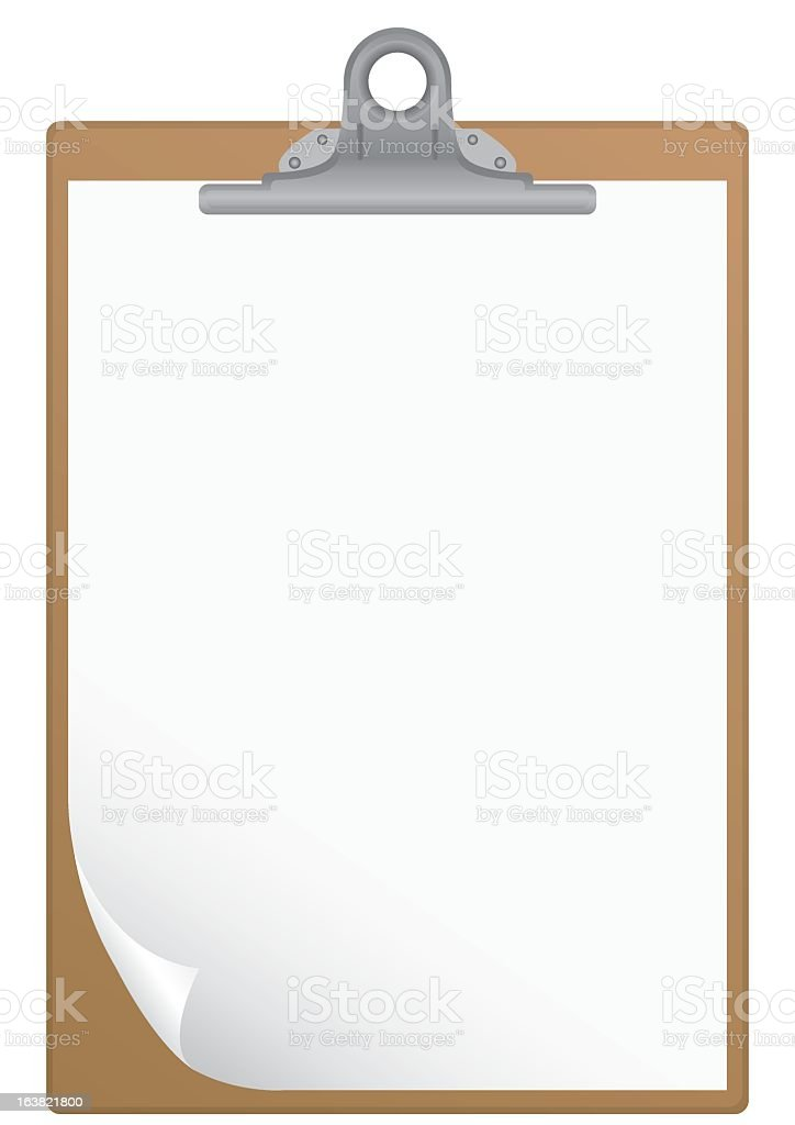 Clipboard and white blank paper with curled corner vector art illustration