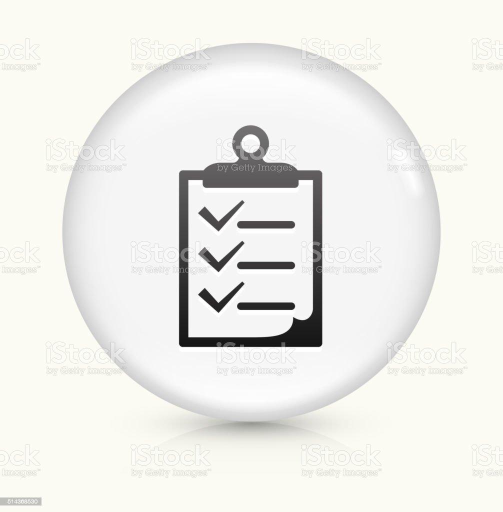 Clipboard Checklist icon on white round vector button vector art illustration