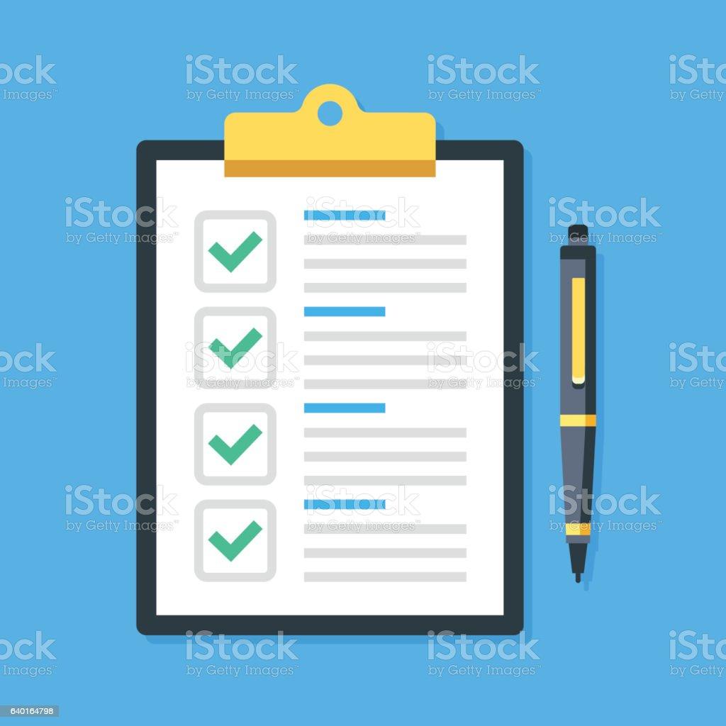 Clipboard, green ticks checkmarks, pen. Checklist, complete tasks. Vector illustration vector art illustration