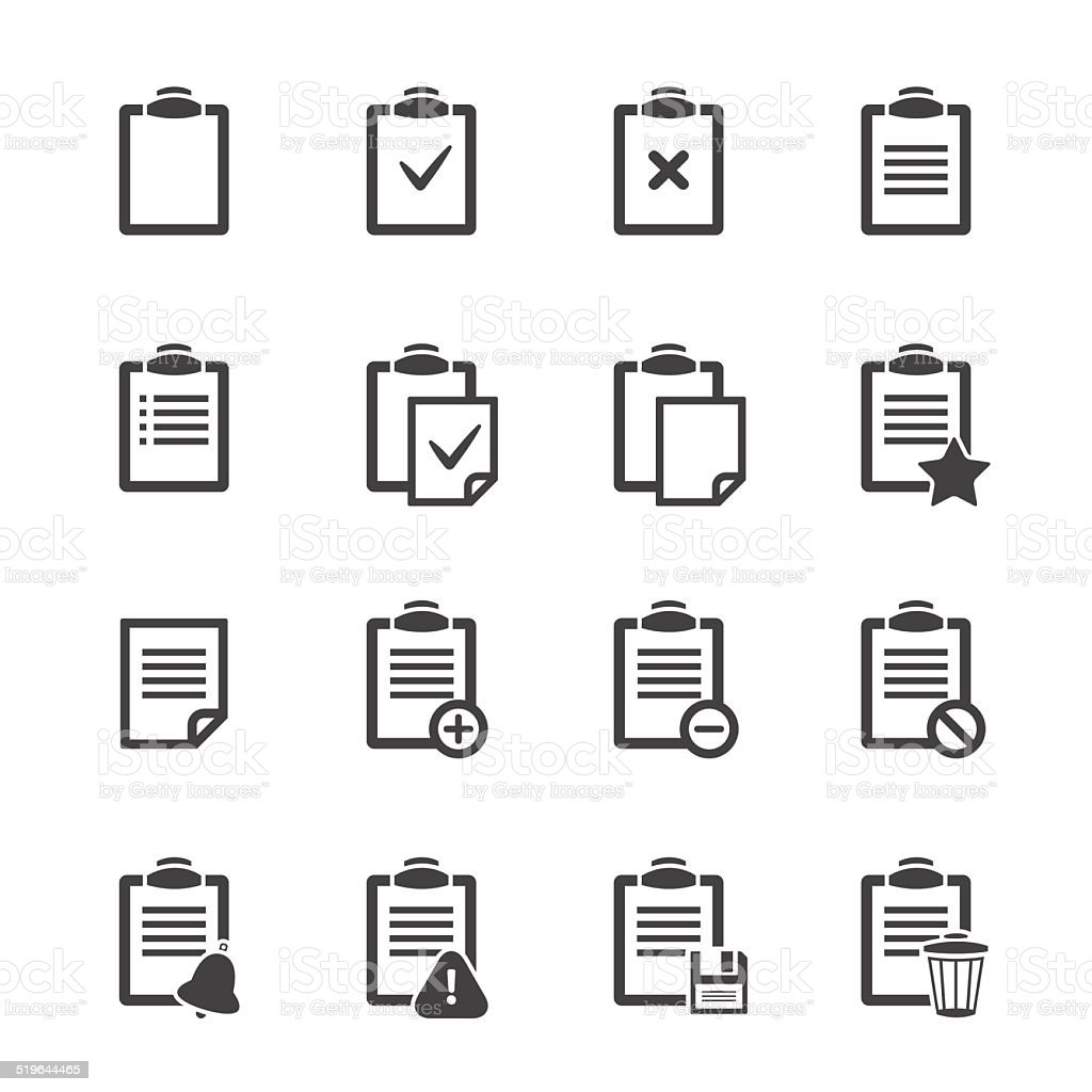 Clipboard icons over white.Vector ofice document vector art illustration