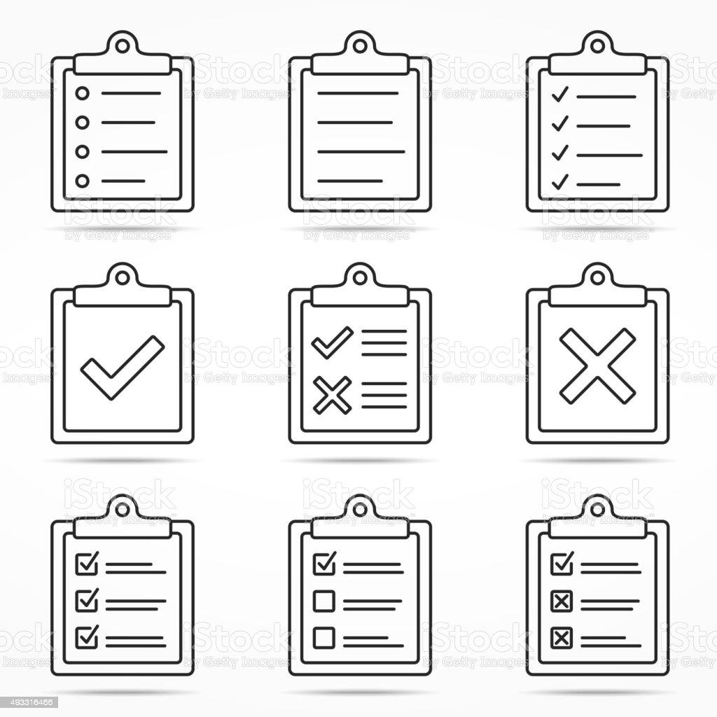 Clipboard Icons vector art illustration