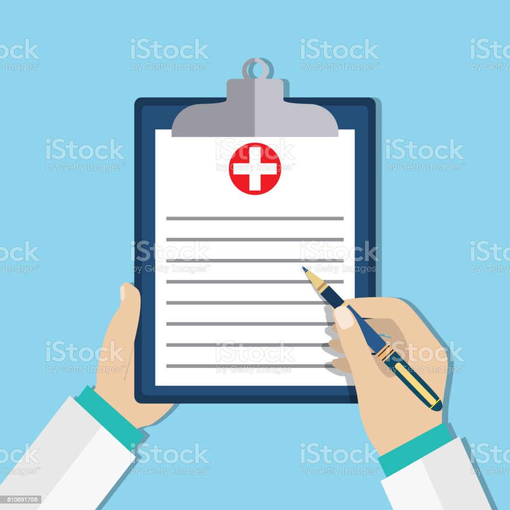 Clipboard in doctors hand. vector art illustration