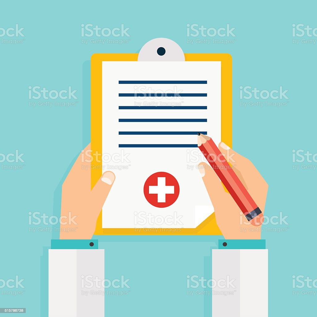 Clipboard in his hand doctor. Hand holding clipboard with checkl vector art illustration