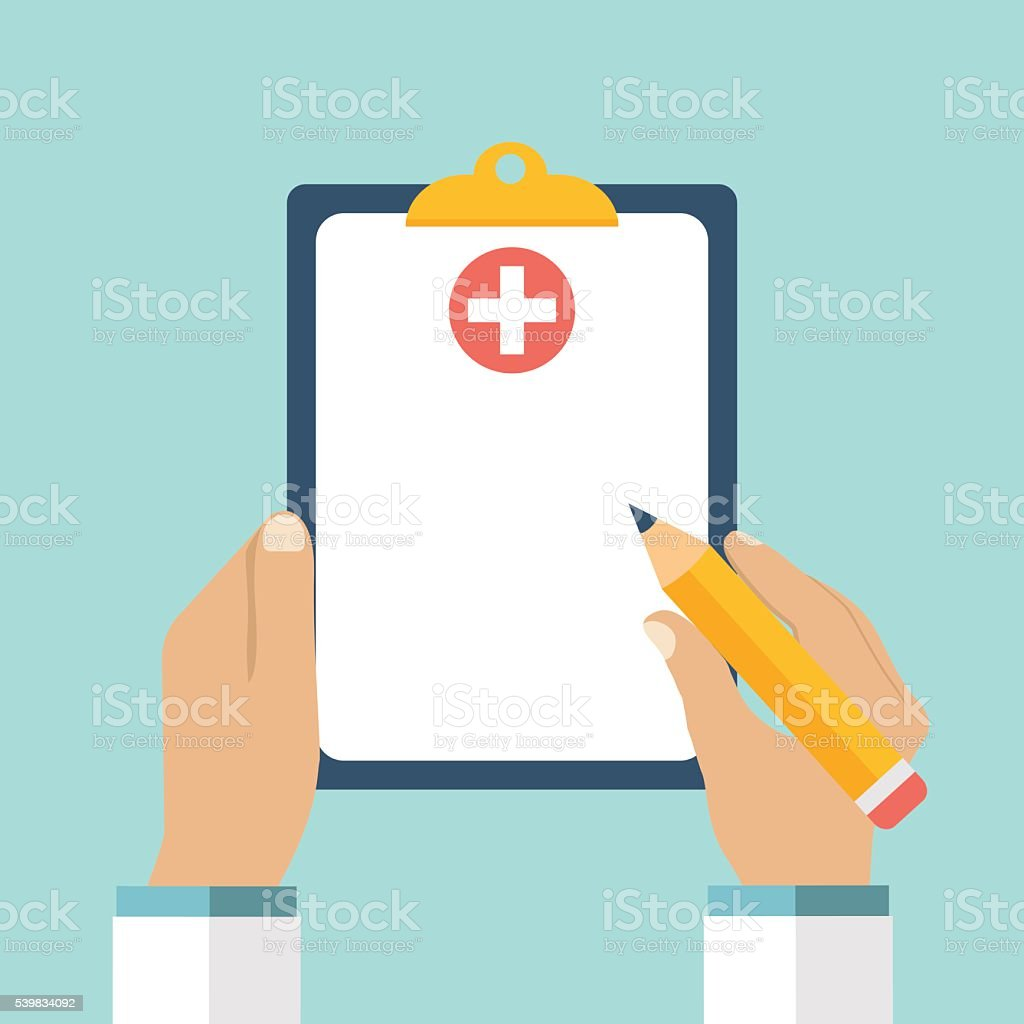 Clipboard in his hand doctor vector art illustration