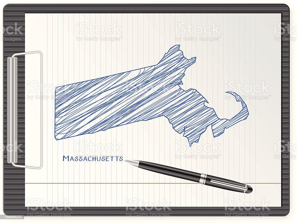 clipboard Massachusetts map royalty-free stock vector art
