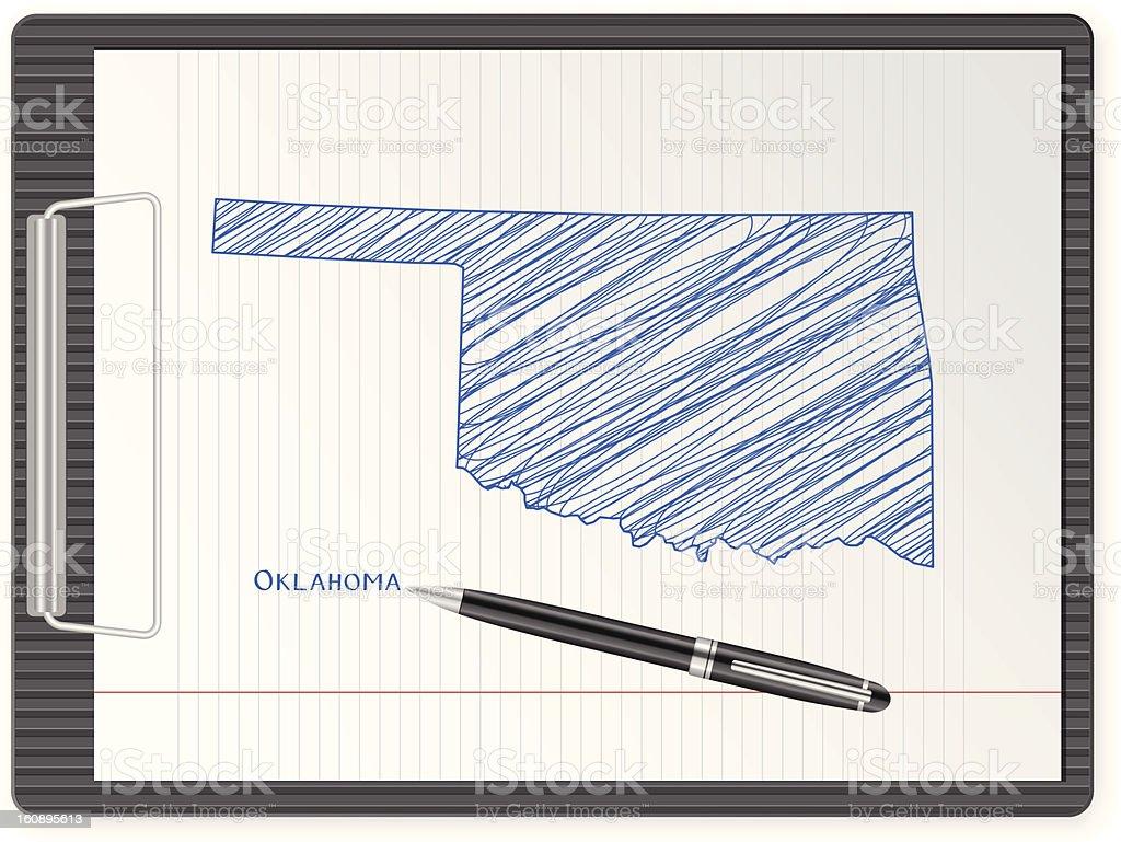 clipboard Oklahoma map royalty-free stock vector art
