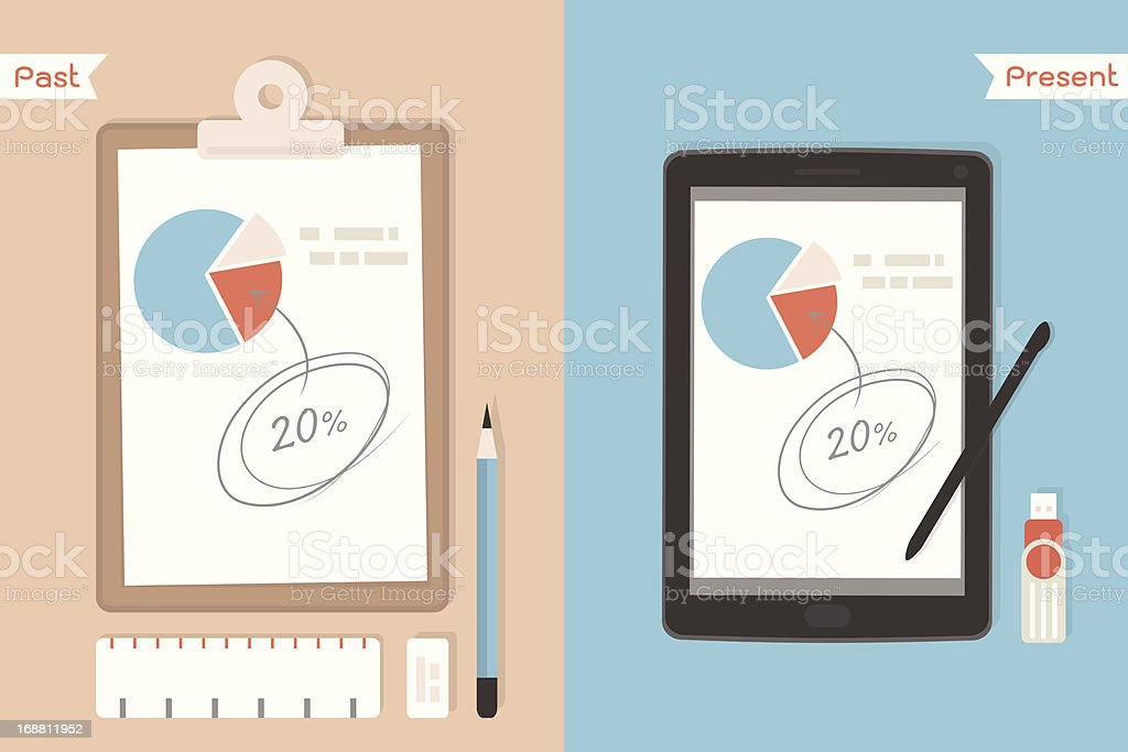 clipboard paper and digital tablet royalty-free stock vector art