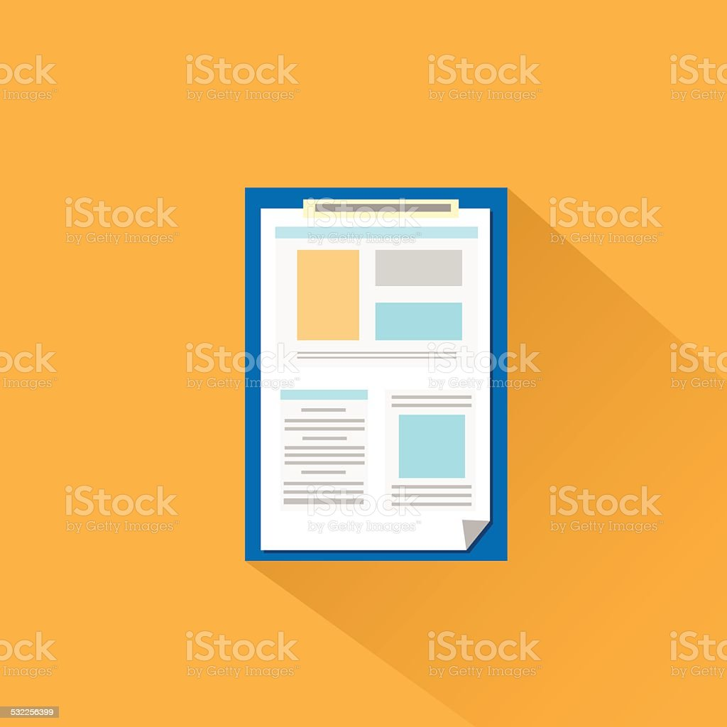 clipboard paper document flat icon vector vector art illustration