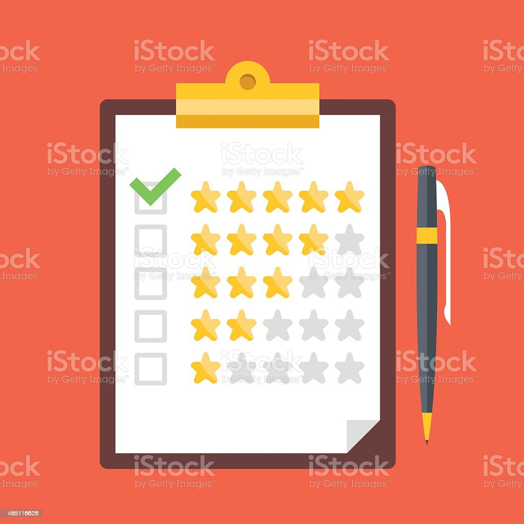 Clipboard, rating stars, pen. Quality control, customers reviews, service rating vector art illustration