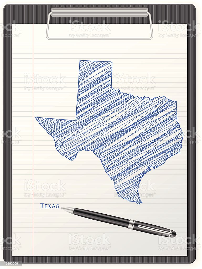 clipboard Texas map royalty-free stock vector art